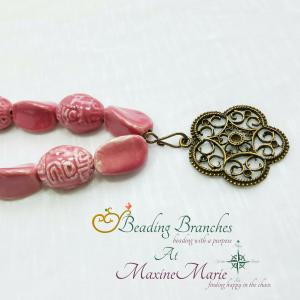 Pink Porcelain With Antiqued Brass Rosette