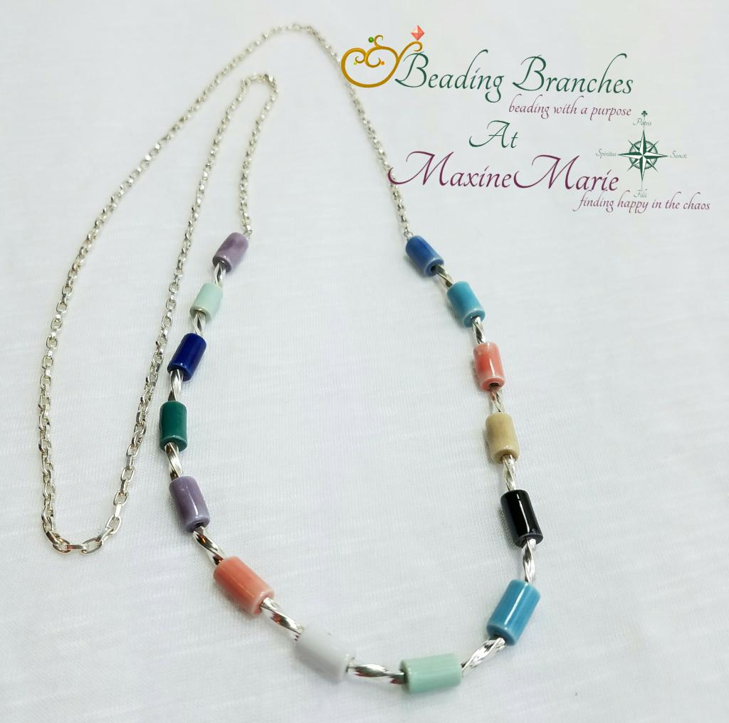Multi-color Porcelain Tube Bead Necklace 1