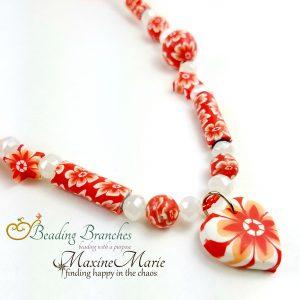 Orange Cream Floral Necklace 2
